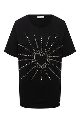Женская хлопковая футболка REDVALENTINO черного цвета, арт. WR0MG12K/683 | Фото 1 (Рукава: Короткие; Длина (для топов): Стандартные; Материал внешний: Хлопок; Стили: Спорт-шик; Принт: С принтом; Женское Кросс-КТ: Футболка-одежда)