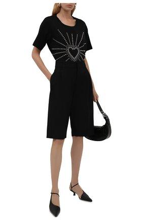Женская хлопковая футболка REDVALENTINO черного цвета, арт. WR0MG12K/683 | Фото 2 (Рукава: Короткие; Длина (для топов): Стандартные; Материал внешний: Хлопок; Стили: Спорт-шик; Принт: С принтом; Женское Кросс-КТ: Футболка-одежда)