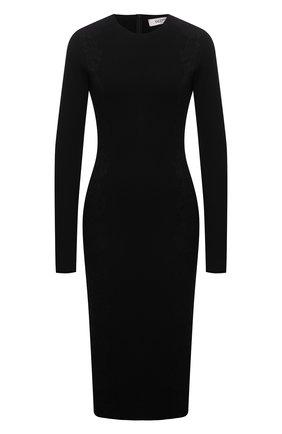 Женское платье из вискозы VALENTINO черного цвета, арт. WB3KDB036M4   Фото 1 (Рукава: Длинные; Длина Ж (юбки, платья, шорты): До колена; Материал внешний: Вискоза; Стили: Гламурный; Женское Кросс-КТ: Платье-одежда; Кросс-КТ: Трикотаж; Случай: Формальный)