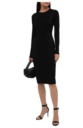 Женское платье из вискозы VALENTINO черного цвета, арт. WB3KDB036M4   Фото 2 (Рукава: Длинные; Длина Ж (юбки, платья, шорты): До колена; Материал внешний: Вискоза; Стили: Гламурный; Женское Кросс-КТ: Платье-одежда; Кросс-КТ: Трикотаж; Случай: Формальный)
