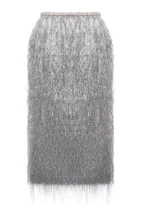 Женская юбка DRIES VAN NOTEN серебряного цвета, арт. 212-010845-3176 | Фото 1 (Материал внешний: Металлизированное волокно; Материал подклада: Шелк; Стили: Гламурный; Женское Кросс-КТ: Юбка-одежда; Длина Ж (юбки, платья, шорты): До колена)