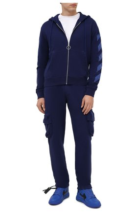 Мужские кожаные кеды out of office OFF-WHITE синего цвета, арт. 0MIA189F21LEA0024510 | Фото 2 (Подошва: Массивная; Материал внутренний: Текстиль)