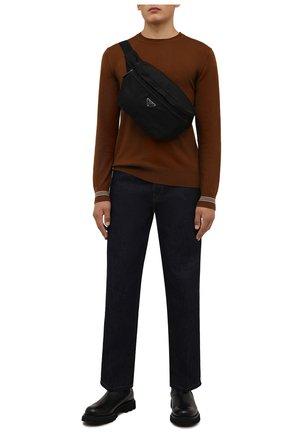 Мужская поясная сумка PRADA черного цвета, арт. 2VL038-2DMG-F0002-OOO | Фото 2 (Материал: Текстиль)