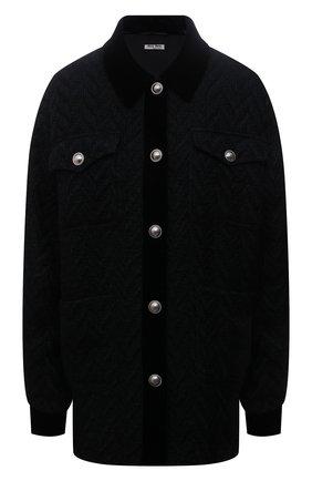 Женская шерстяная куртка MIU MIU черного цвета, арт. ML796-1ZUX-F0002   Фото 1 (Рукава: Длинные; Материал внешний: Шерсть; Длина (верхняя одежда): До середины бедра; Стили: Спорт-шик; Кросс-КТ: Куртка)