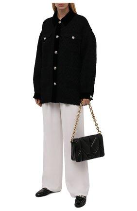 Женская шерстяная куртка MIU MIU черного цвета, арт. ML796-1ZUX-F0002   Фото 2 (Рукава: Длинные; Материал внешний: Шерсть; Длина (верхняя одежда): До середины бедра; Стили: Спорт-шик; Кросс-КТ: Куртка)