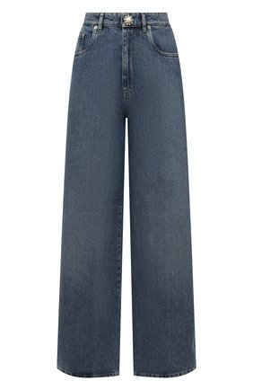 Женские джинсы MIU MIU синего цвета, арт. GWP394-1YXQ-F0013   Фото 1 (Материал внешний: Хлопок; Длина (брюки, джинсы): Стандартные; Стили: Гламурный; Кросс-КТ: Деним; Силуэт Ж (брюки и джинсы): Широкие)