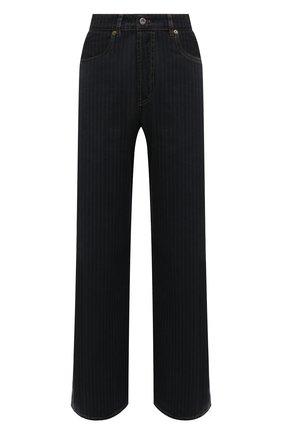 Женские джинсы MIU MIU темно-синего цвета, арт. GWP399-1ZGM-F0002   Фото 1 (Материал внешний: Хлопок; Длина (брюки, джинсы): Стандартные; Стили: Кэжуэл; Кросс-КТ: Деним; Силуэт Ж (брюки и джинсы): Широкие)
