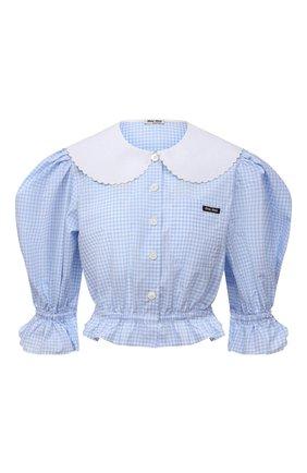 Женская хлопковая блузка MIU MIU голубого цвета, арт. MK1540-318-F0012 | Фото 1 (Рукава: 3/4; Длина (для топов): Укороченные; Материал внешний: Хлопок; Стили: Романтичный; Принт: Клетка; Женское Кросс-КТ: Блуза-одежда)
