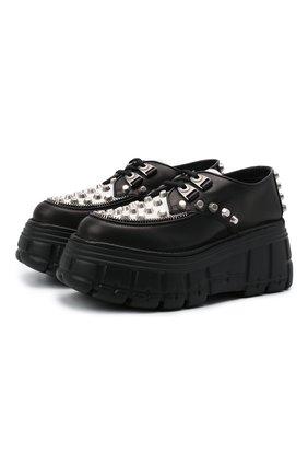 Женская кожаные дерби MIU MIU черного цвета, арт. 5E636D-Y56-F0967-M085 | Фото 1 (Подошва: Платформа; Каблук высота: Высокий; Женское Кросс-КТ: Ботинки-ботинки)