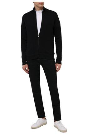 Мужской кардиган из хлопка и шерсти BOSS черного цвета, арт. 50457685 | Фото 2 (Материал внешний: Хлопок, Шерсть; Мужское Кросс-КТ: Толстовка-одежда, Кардиган-одежда; Стили: Спорт-шик; Рукава: Длинные; Длина (для топов): Стандартные)