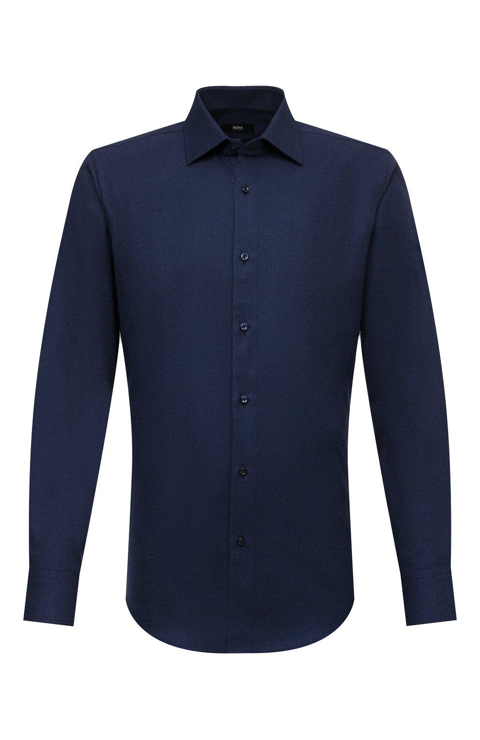 Мужская хлопковая рубашка BOSS темно-синего цвета, арт. 50460111   Фото 1 (Манжеты: На пуговицах; Воротник: Кент; Рукава: Длинные; Случай: Повседневный; Длина (для топов): Стандартные; Материал внешний: Хлопок; Принт: Однотонные; Стили: Кэжуэл)