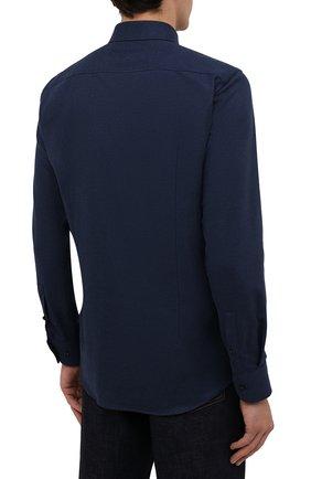 Мужская хлопковая рубашка BOSS темно-синего цвета, арт. 50460111   Фото 4 (Манжеты: На пуговицах; Воротник: Кент; Рукава: Длинные; Случай: Повседневный; Длина (для топов): Стандартные; Материал внешний: Хлопок; Принт: Однотонные; Стили: Кэжуэл)