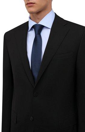 Мужской шелковый галстук BOSS темно-синего цвета, арт. 50461104 | Фото 2 (Материал: Текстиль, Шелк; Принт: Без принта)