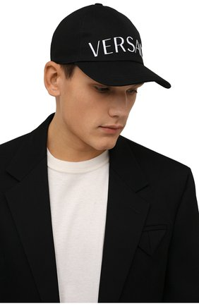 Мужской хлопковая бейсболка VERSACE черного цвета, арт. 1001590/1A01914 | Фото 2 (Материал: Текстиль, Хлопок)