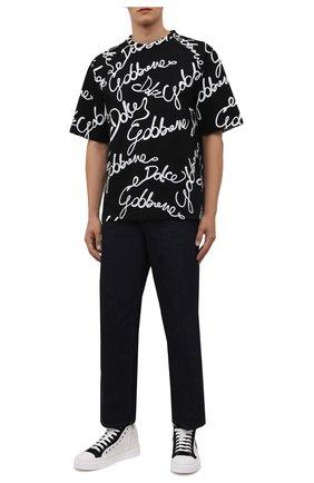 Мужские текстильные кеды portofino light DOLCE & GABBANA черно-белого цвета, арт. CS1903/A0853 | Фото 2 (Материал внутренний: Натуральная кожа; Материал внешний: Текстиль; Подошва: Плоская)