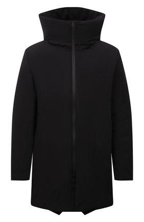 Мужская пуховик KAZUYUKI KUMAGAI черного цвета, арт. AC12-223 | Фото 1 (Материал подклада: Синтетический материал; Материал внешний: Синтетический материал; Материал утеплителя: Пух и перо; Кросс-КТ: Куртка; Мужское Кросс-КТ: пуховик-короткий; Рукава: Длинные; Длина (верхняя одежда): До середины бедра; Стили: Минимализм)