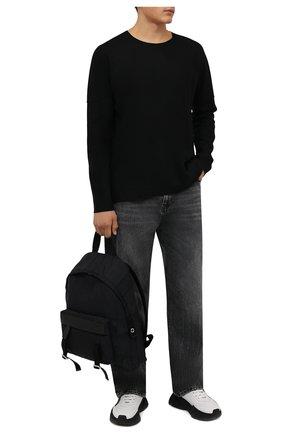 Мужская шерстяной лонгслив KAZUYUKI KUMAGAI черного цвета, арт. AJ12-238 | Фото 2 (Материал внешний: Шерсть; Длина (для топов): Стандартные; Рукава: Длинные; Принт: Без принта; Стили: Минимализм)