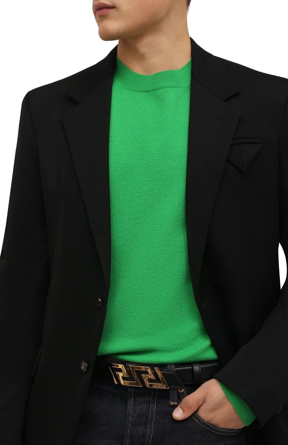 Мужской кожаный ремень VERSACE черного цвета, арт. 1002237/DVTP1   Фото 2 (Случай: Повседневный)