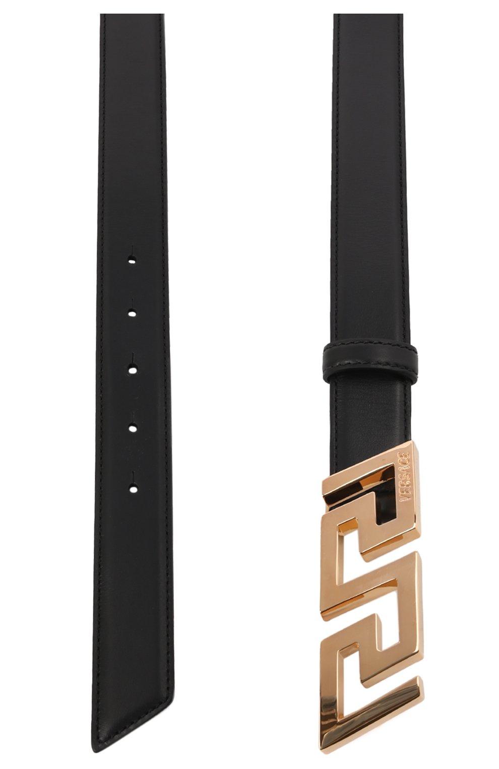 Мужской кожаный ремень VERSACE черного цвета, арт. 1002237/DVTP1   Фото 3 (Случай: Повседневный)