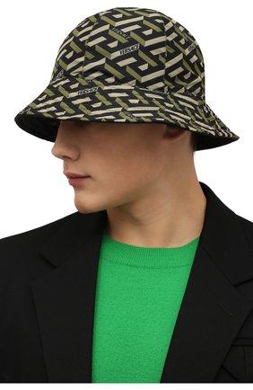 Мужская панама VERSACE хаки цвета, арт. 1001591/1A01912 | Фото 2 (Материал: Текстиль, Синтетический материал)