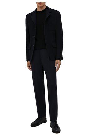 Мужские кожаные кеды CORNELIANI темно-синего цвета, арт. 88TM37-1820993 | Фото 2 (Подошва: Массивная; Материал внутренний: Натуральная кожа, Текстиль)