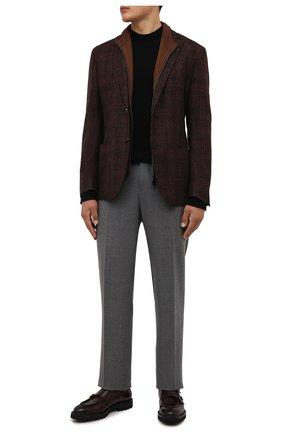 Мужской шерстяной пиджак CORNELIANI коричневого цвета, арт. 88X528-1816317/90 | Фото 2 (Материал внешний: Шерсть; Пиджаки М: Приталенный; 1-2-бортные: Однобортные; Случай: Повседневный; Стили: Кэжуэл; Рукава: Длинные; Длина (для топов): Стандартные)
