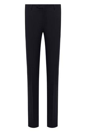 Мужские шерстяные брюки CORNELIANI темно-синего цвета, арт. 885B01-1818119/02   Фото 1 (Материал внешний: Шерсть; Материал подклада: Вискоза; Случай: Формальный; Стили: Классический; Длина (брюки, джинсы): Стандартные)