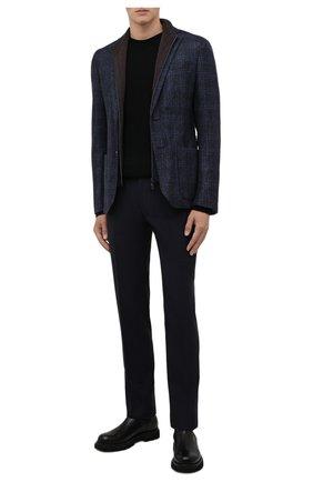 Мужские шерстяные брюки CORNELIANI темно-синего цвета, арт. 885B01-1818119/02   Фото 2 (Материал внешний: Шерсть; Материал подклада: Вискоза; Случай: Формальный; Стили: Классический; Длина (брюки, джинсы): Стандартные)
