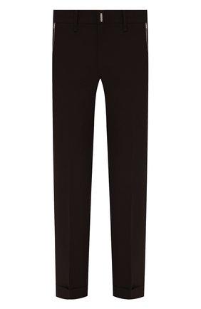Мужские шерстяные брюки GIVENCHY коричневого цвета, арт. BM50XM13MP | Фото 1 (Длина (брюки, джинсы): Стандартные; Материал внешний: Шерсть; Случай: Повседневный; Стили: Кэжуэл)