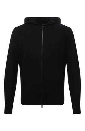Мужской шерстяной кардиган EMPORIO ARMANI черного цвета, арт. 6K1MXQ/1MHVZ | Фото 1 (Материал внешний: Шерсть; Рукава: Длинные; Длина (для топов): Стандартные; Мужское Кросс-КТ: Толстовка-одежда, Кардиган-одежда; Стили: Спорт-шик)