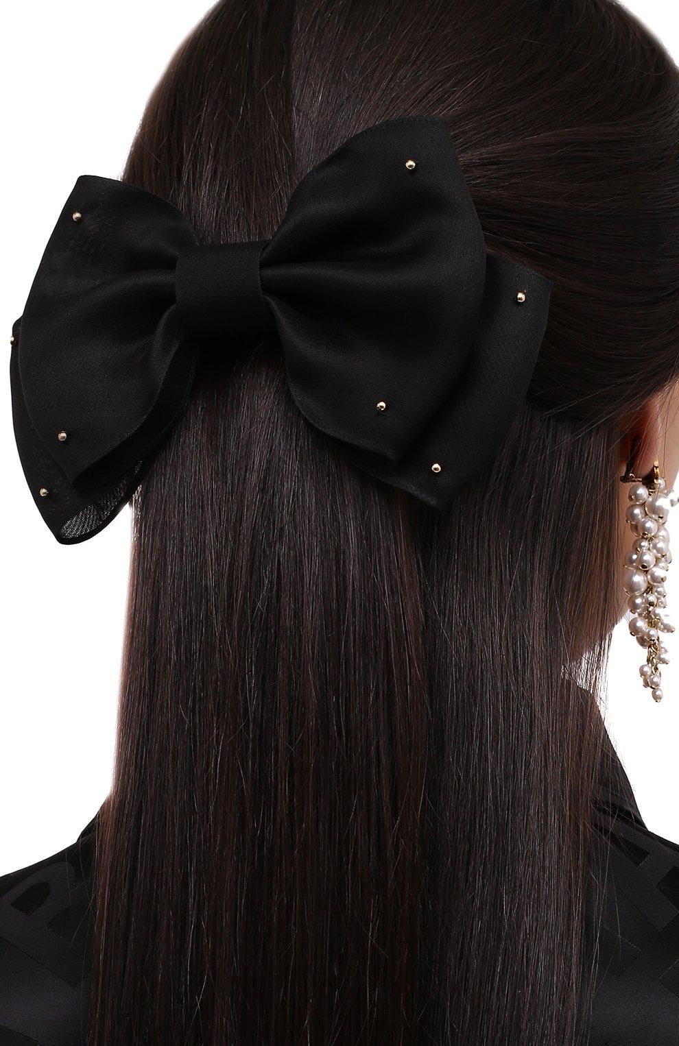 Женская бант PANFIL черного цвета, арт. Бант 0-8-М   Фото 2 (Материал: Текстиль, Шелк)