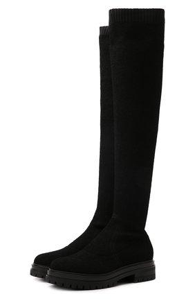 Женские текстильные ботфорты GIANVITO ROSSI черного цвета, арт. G80325.20G0M.KIBNER0 | Фото 1 (Подошва: Платформа; Высота голенища: Высокие; Материал внешний: Текстиль; Каблук высота: Низкий; Материал внутренний: Натуральная кожа; Каблук тип: Устойчивый)