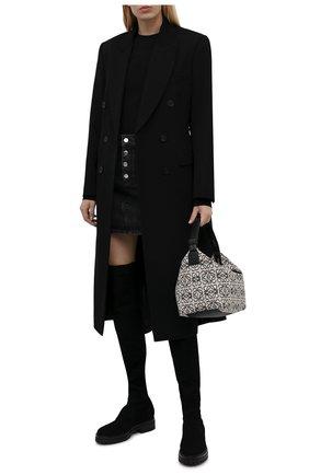 Женские текстильные ботфорты GIANVITO ROSSI черного цвета, арт. G80325.20G0M.KIBNER0   Фото 2 (Подошва: Платформа; Высота голенища: Высокие; Материал внешний: Текстиль; Каблук высота: Низкий; Материал внутренний: Натуральная кожа; Каблук тип: Устойчивый)