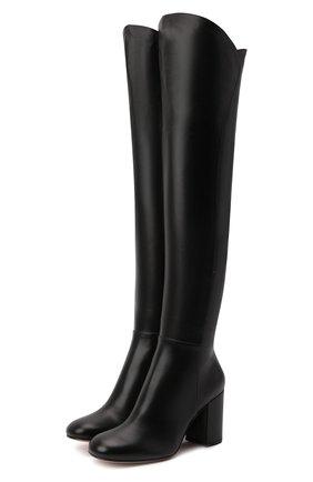 Женские кожаные ботфорты GIANVITO ROSSI черного цвета, арт. G80343.85RIC.VGINER0   Фото 1 (Материал внутренний: Натуральная кожа; Подошва: Плоская; Каблук высота: Высокий; Высота голенища: Высокие; Каблук тип: Устойчивый)