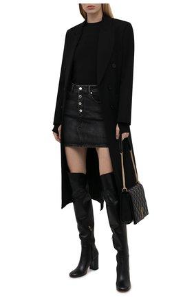 Женские кожаные ботфорты GIANVITO ROSSI черного цвета, арт. G80343.85RIC.VGINER0   Фото 2 (Материал внутренний: Натуральная кожа; Подошва: Плоская; Каблук высота: Высокий; Высота голенища: Высокие; Каблук тип: Устойчивый)