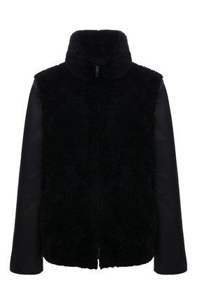 Женская дубленка из овчины GIORGIO ARMANI темно-синего цвета, арт. BAB06P/BAP10 | Фото 1 (Материал подклада: Синтетический материал; Рукава: Длинные; Материал внешний: Натуральный мех; Материал утеплителя: Шерсть; Длина (верхняя одежда): Короткие; Стили: Кэжуэл)
