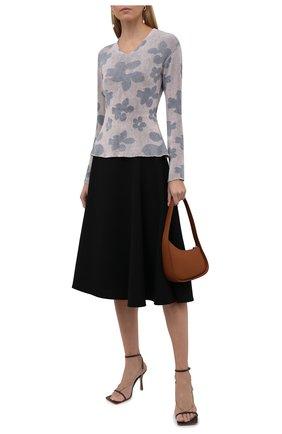 Женский пуловер GIORGIO ARMANI сиреневого цвета, арт. 6KAMA1/AMA2Z | Фото 2 (Материал внешний: Синтетический материал, Вискоза; Длина (для топов): Стандартные; Рукава: Длинные; Женское Кросс-КТ: Пуловер-одежда; Стили: Романтичный)