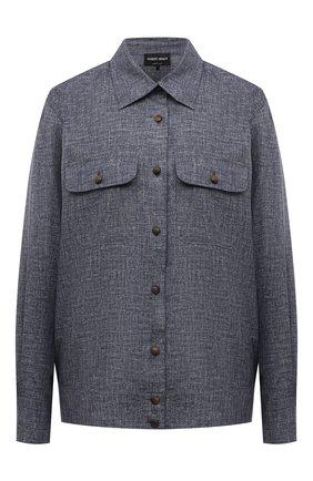 Женская шелковая рубашка GIORGIO ARMANI синего цвета, арт. 1WHCC020/T02XE | Фото 1 (Рукава: Длинные; Длина (для топов): Стандартные; Материал внешний: Шелк; Женское Кросс-КТ: Рубашка-одежда; Принт: Без принта; Стили: Кэжуэл)