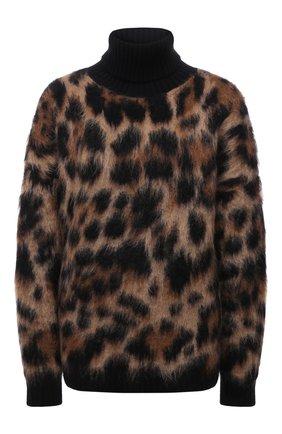 Женский свитер DOLCE & GABBANA леопардового цвета, арт. FXE60T/JCMM2 | Фото 1 (Рукава: Длинные; Длина (для топов): Стандартные; Материал внешний: Шерсть; Женское Кросс-КТ: Свитер-одежда; Стили: Гламурный)