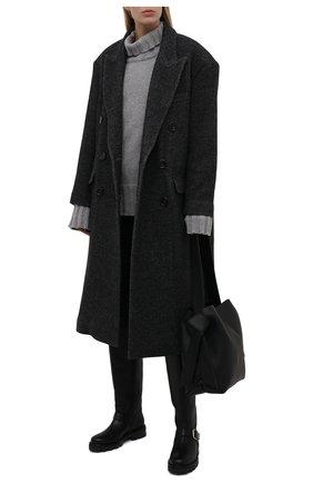 Женские кожаные сапоги biker JIMMY CHOO черного цвета, арт. BIKER II TALL/SQM   Фото 2 (Высота голенища: Средние; Материал внутренний: Натуральная кожа; Каблук высота: Низкий; Подошва: Платформа; Каблук тип: Устойчивый)