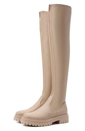 Женские кожаные ботфорты GIANVITO ROSSI кремвого цвета, арт. G80576.20G0M.ENSM0US   Фото 1 (Материал внутренний: Натуральная кожа; Высота голенища: Высокие; Каблук высота: Низкий; Подошва: Платформа; Каблук тип: Устойчивый)