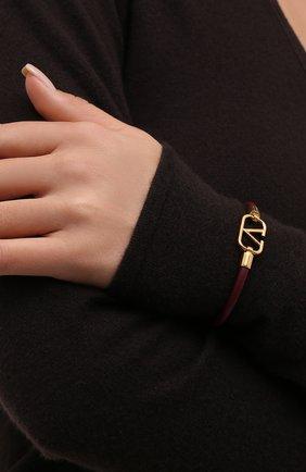 Женский кожаный браслет vlogo VALENTINO бордового цвета, арт. WW2J0I53/DSH | Фото 2