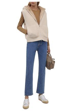 Женский кашемировый жилет с подкладкой из меха норки LORO PIANA светло-бежевого цвета, арт. FAL7054 | Фото 2 (Материал внешний: Шерсть, Кашемир; Длина (верхняя одежда): Короткие; Стили: Кэжуэл)