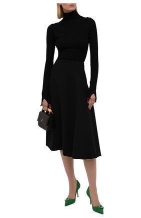 Женская шерстяная юбка LORO PIANA черного цвета, арт. FAL9480 | Фото 2 (Материал внешний: Шерсть; Материал подклада: Шелк; Длина Ж (юбки, платья, шорты): Миди; Женское Кросс-КТ: Юбка-одежда; Стили: Кэжуэл)