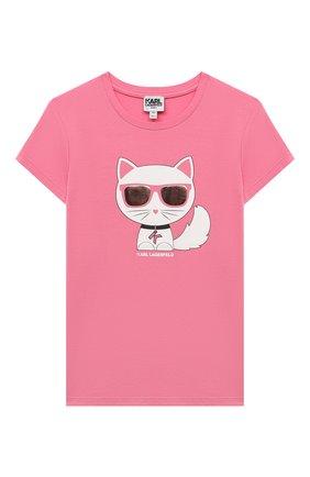 Детская хлопковая футболка KARL LAGERFELD KIDS розового цвета, арт. Z15322 | Фото 1 (Рукава: Короткие; Материал внешний: Синтетический материал, Хлопок; Девочки Кросс-КТ: футболка-одежда; Ростовка одежда: 9 лет | 134 см, 12 лет | 152 см, 13 - 15 лет | 158 см, 5 лет | 110 см, 7 лет | 122 см)