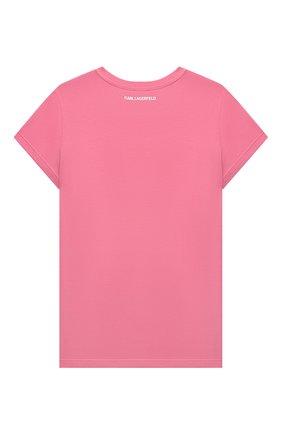Детская хлопковая футболка KARL LAGERFELD KIDS розового цвета, арт. Z15322 | Фото 2 (Рукава: Короткие; Материал внешний: Синтетический материал, Хлопок; Девочки Кросс-КТ: футболка-одежда; Ростовка одежда: 9 лет | 134 см, 12 лет | 152 см, 13 - 15 лет | 158 см, 5 лет | 110 см, 7 лет | 122 см)