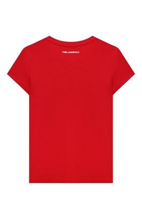 Детская хлопковая футболка KARL LAGERFELD KIDS красного цвета, арт. Z15322   Фото 2 (Материал внешний: Хлопок, Синтетический материал; Рукава: Короткие; Девочки Кросс-КТ: футболка-одежда; Ростовка одежда: 9 лет   134 см, 12 лет   152 см, 13 - 15 лет   158 см, 5 лет   110 см, 7 лет   122 см)