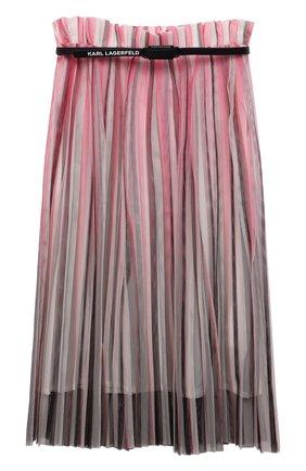 Детская плиссированная юбка KARL LAGERFELD KIDS розового цвета, арт. Z13078 | Фото 1 (Материал внешний: Синтетический материал; Случай: Повседневный; Ростовка одежда: 9 лет | 134 см, 12 лет | 152 см, 13 - 15 лет | 158 см, 16 лет | 164 см, 5 лет | 110 см, 7 лет | 122 см)