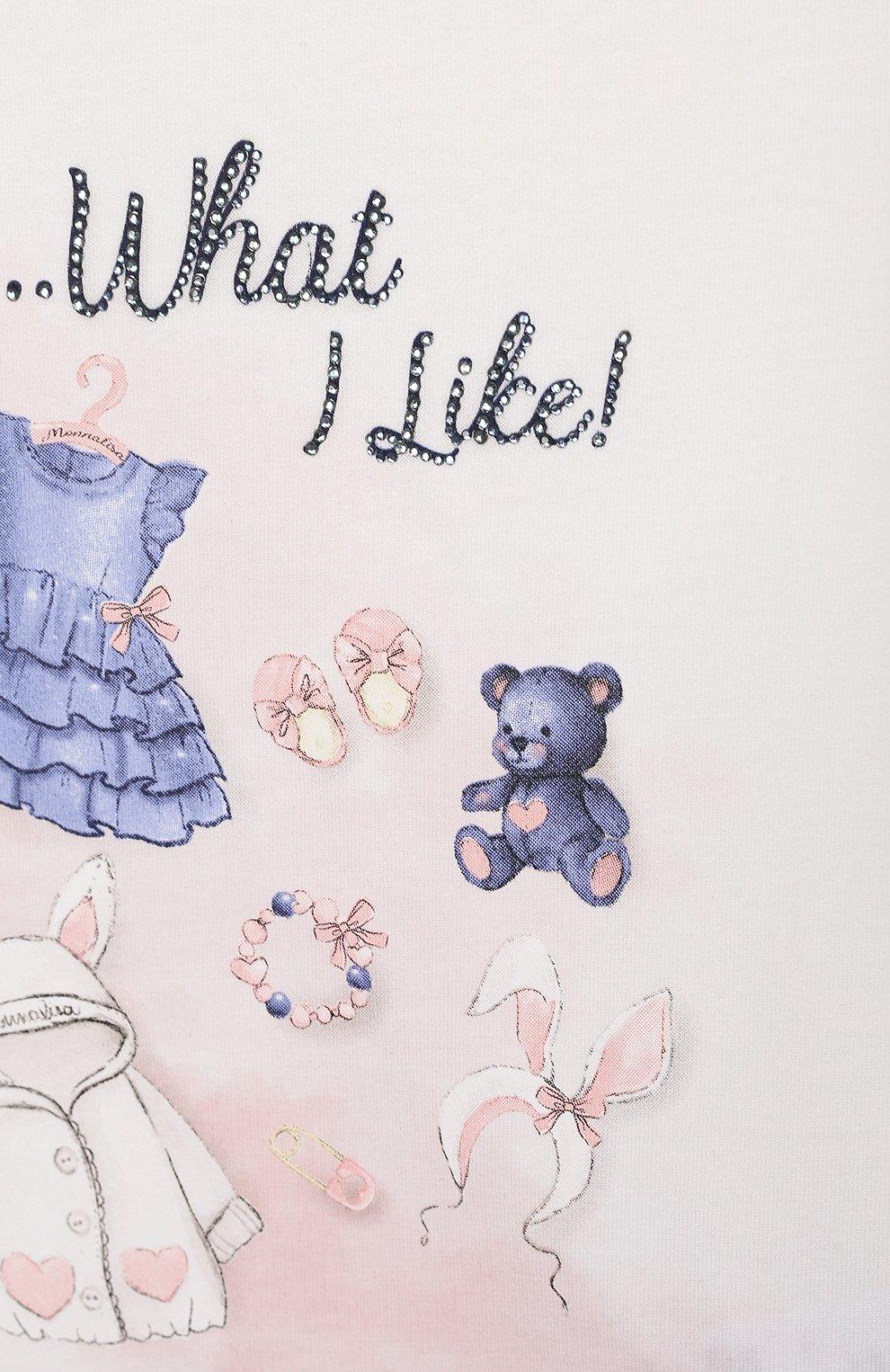 Детский хлопковый лонгслив MONNALISA белого цвета, арт. 318620PV. | Фото 3 (Рукава: Длинные; Материал внешний: Хлопок; Ростовка одежда: 24 мес | 92 см, 36 мес | 98 см)