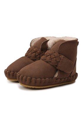 Детские кожаные ботинки DONSJE AMSTERDAM коричневого цвета, арт. 1034200-NL148   Фото 1